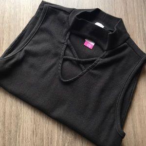 Basic black tank top mock neck